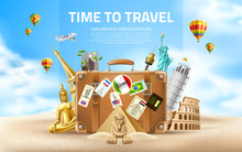 Vector Travelling And Tourism Poster Design 3d