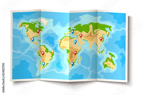Vector folded world map destination pointer pins