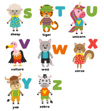 Alphabet With Cute Animals S To Z - Vector Illustration, Eps