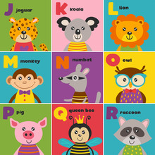 Alphabet Card With Cute Animals J To R - Vector Illustration, Eps