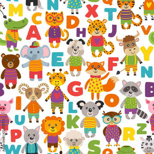 Plakat abecadło - alfabet seamless-pattern-with-cute-animals-vector-illustration-eps