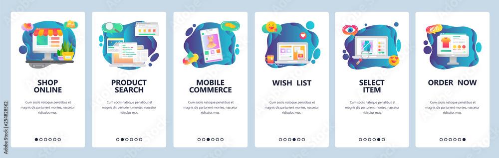 Fototapeta Mobile app onboarding screens. Online shopping, internet store, mobile ecommerce. Menu vector banner template for website and mobile development. Web site design flat illustration