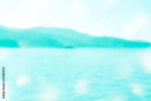 Foto auf AluDibond Licht blau Banner Blurred tropical beach summer background Vintage blue toning color effect is defocusing. Copy space travel and adventure concept