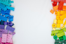 Multicolor Lego Cubes On White Background. Popular Toys.