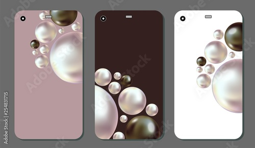 Photo  Set of Background for mobile phone with realistic black and white pearls