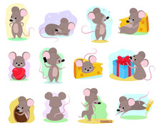 Cartoon Mouse Vector Mousy Animal Character Rodent And Funny Rat With Cheese Illustration Mousey Set Of Little Mice In Mousetrap And Mouselook In Love Illustration Set Isolated On White Background
