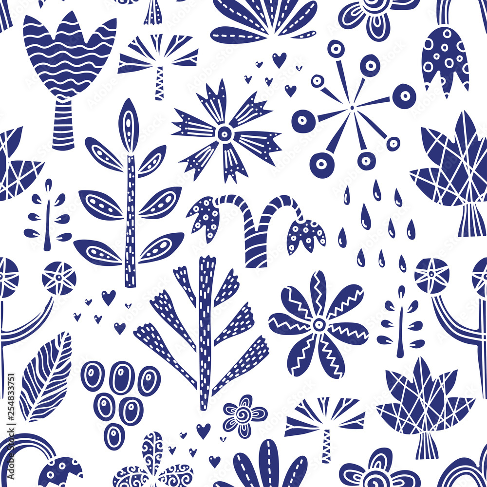 Scandinavian floral seamless pattern with spring flower. Vintage flowers illustration. Template for fashion prints.