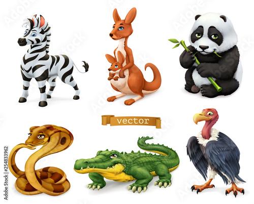 Śmieszne zwierzęta. Zebra, kangur, niedźwiedź panda, wąż kobra, krokodyl, sęp. 3D zestaw ikon wektorowych