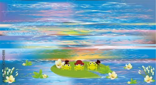 Canvas Prints River, lake spring composition with frogs that sit on a leaf that swims in the lake