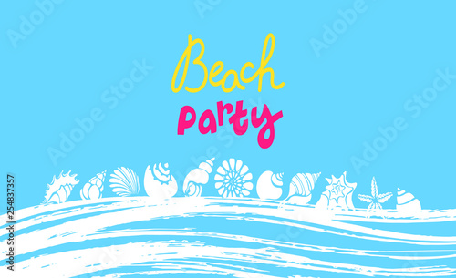 Canvas Prints Green coral Vector summer template. Tropical beach party banner. Lettering