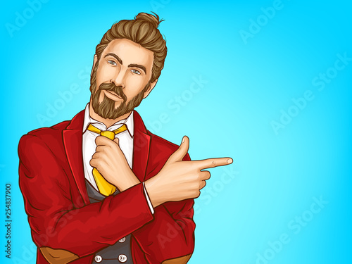 Valokuva Half-length portrait of attractive hipster men in red suit, loosening his tie, pointing with finger on copyspace pop art vector illustration