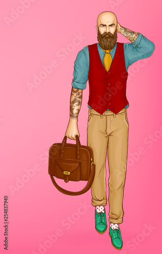 Photo Bold, bearded and tattooed hipster man walking in waistcoat over shirt with rolled up sleeves, wearing green shoes, leather suitcase in hand pop art vector on pink background