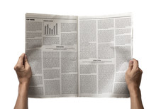 Hands Holding The Business Newspaper Isolated On White Background, Daily Newspaper Mock-up Concept