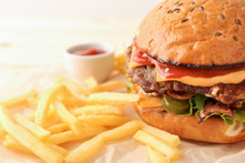 Tasty Burger And French Fries ...