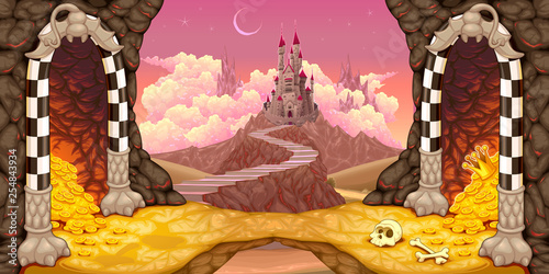 Tuinposter Kinderkamer Fantasy landscape with castle, caverns and treasure