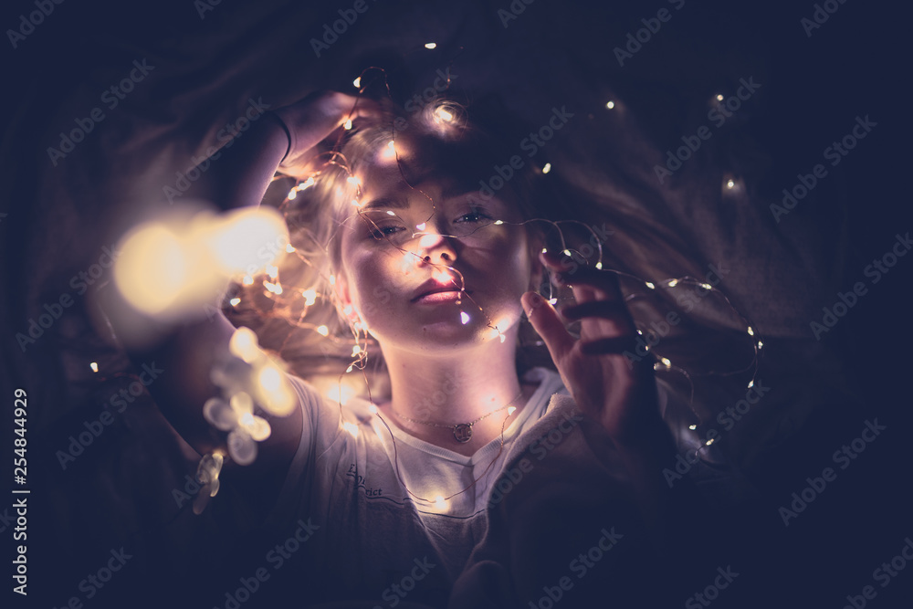 Fototapety, obrazy: young shy elegant girl with smile in face