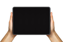Women's Hand Showing Black Tablet, Concept Of Taking Photo Or Selfie