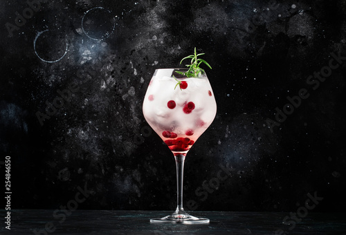 Cranberry cocktail with ice, rosemary and berries in big wine glass, bar tools, Fototapeta