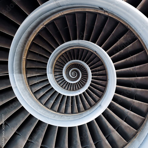Canvas Print Air plane engine spiral abstract background