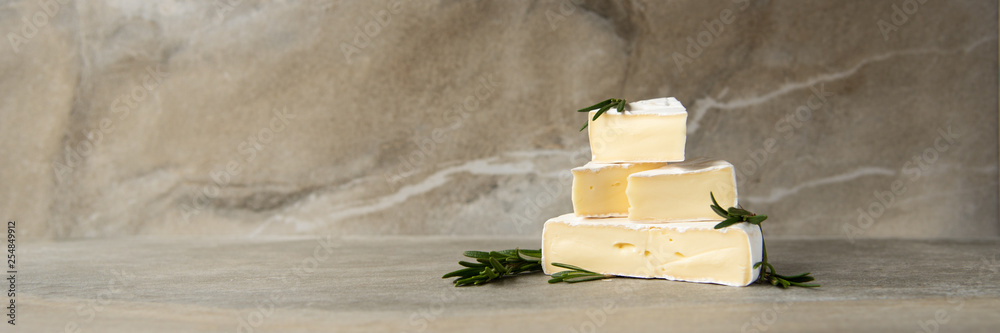 Fototapety, obrazy: Cheese camembert or brie with fresh rosemary