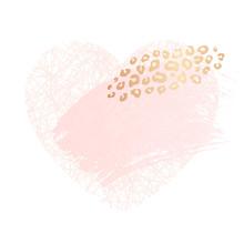 Golden Heart Pink Blank Nude Art Frames. Card Design Brush Stroke Lines Points Gold Premium Brochure Flyer Invitation Template. Beauty Identity Elegant Style, Golden Exotic Leopard Animal Skin Texture
