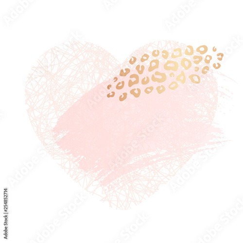 Golden Heart Pink Blank Nude Art Frames Card Design Brush