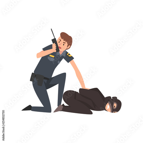 Valokuvatapetti Policeman Caught Criminal, Police Officer Arrested Robber Vector Illustration
