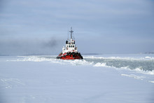 Sea Tug In Winter