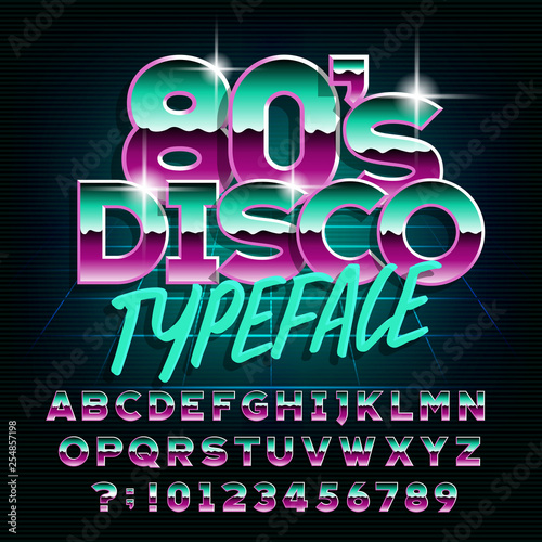 80's Disco typeface  Letters and numbers  Stock vector alphabet font