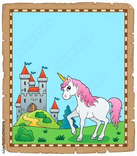 Foto op Canvas Voor kinderen Fairy tale unicorn topic parchment 1