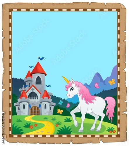 Foto op Canvas Voor kinderen Fairy tale unicorn topic parchment 2