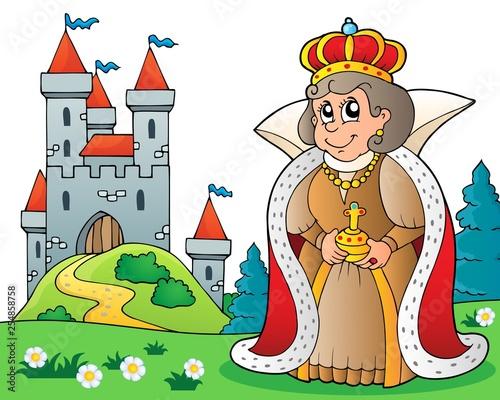 Foto op Canvas Voor kinderen Happy queen near castle theme 3