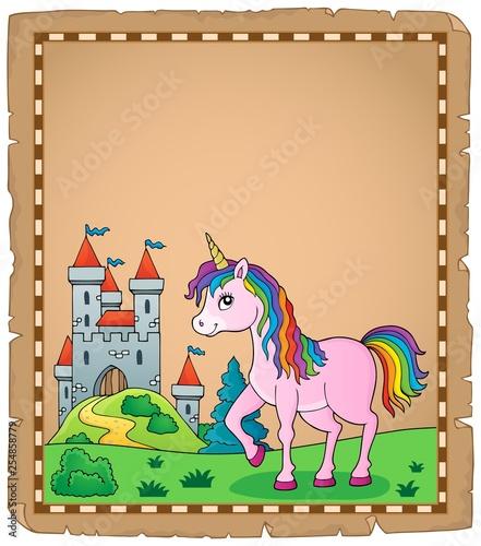 Foto op Canvas Voor kinderen Happy unicorn topic parchment 4