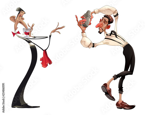 Poster Chambre d enfant Caricatures of bartender and waiter with red wine