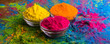 Leinwanddruck Bild - Holi color powder. Organic Gulal colours in bowl for Holi festival, Hindu tradition festive. Bright vibrant pigment closeup