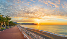 Landscape With Colorful Sunrise Panorama Over The Bay Of Angels, Nice, French Riviera Coast
