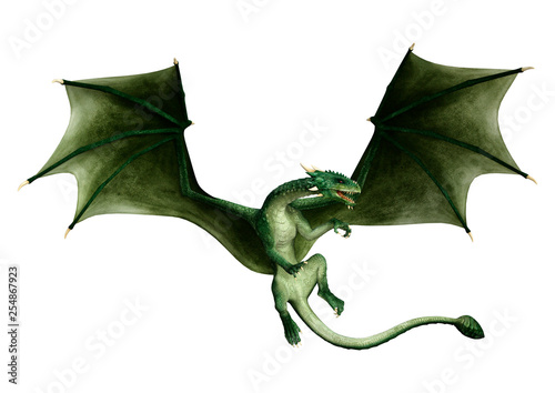 Slika na platnu 3D Rendering Fairy Tale Dragon on White
