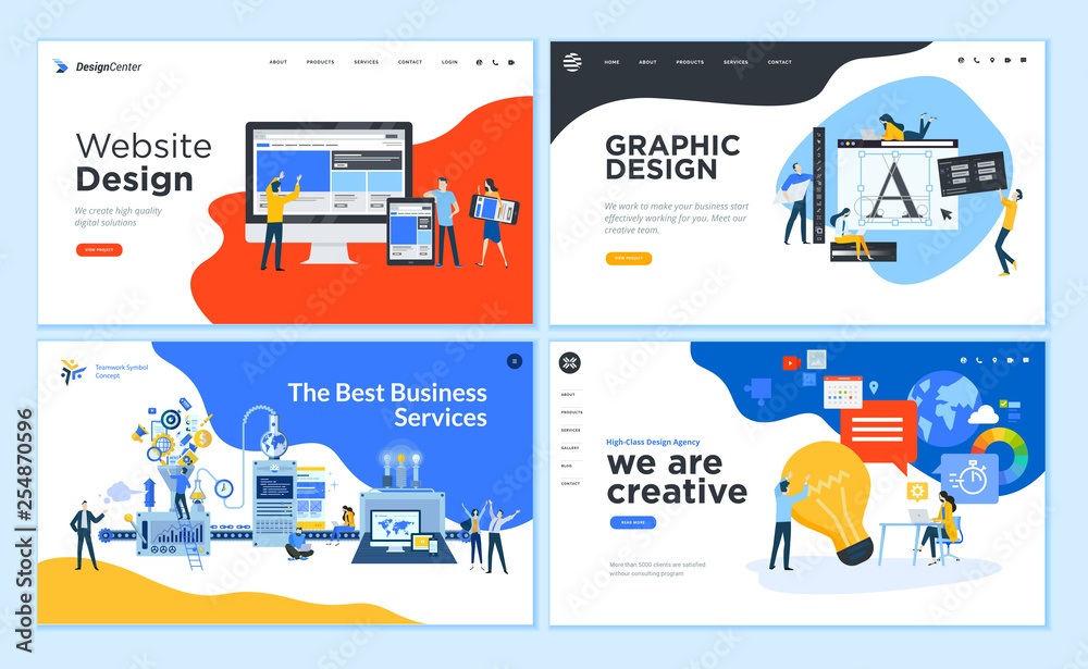 Fototapety, obrazy: Set of flat design web page templates of graphic design, website design and development, social media, business service. Modern vector illustration concepts for website and mobile website development