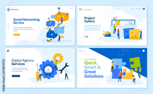 Set of flat design web page templates of social networking, business solutions, seo, project gallery . Modern vector illustration concepts for website and mobile website development.