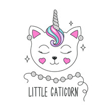 Cute Kitten Illustration. Design For Kids. Fashion Illustration Drawing In Modern Style For Clothes. Girlish Print. Glitter, Unicorn, Cat