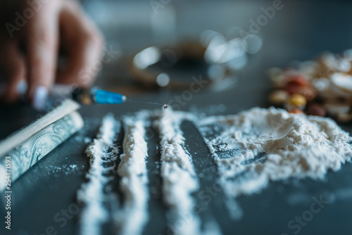Foto op Plexiglas Europa Druggy kit, dose in spoon, addiction concept