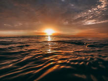 Orange Sun Over The Ocean