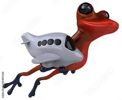 Zabawa czerwona żaba - ilustracja 3D