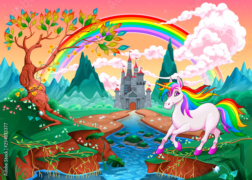 Unicorn in a fantasy landscape with rainbow and castle