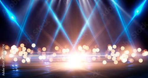 Wet asphalt, reflection of neon lights, a searchlight, smoke. Abstract light in a dark empty street with smoke, smog. Dark background scene of empty street, night view, night city. - 254875906