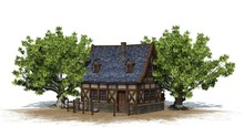 Medieval Cottage Between Trees...