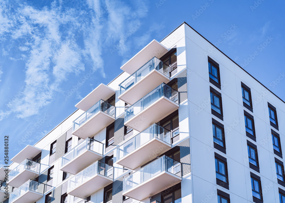 Fototapety, obrazy: White color Apartment home house residential building complex real estate