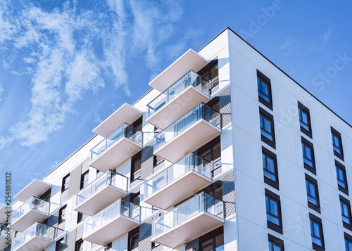 Obraz White color Apartment home house residential building complex real estate - fototapety do salonu