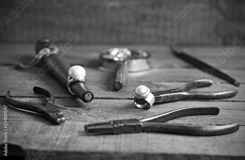 Jeweler's ring and tools in black and white - 254881547
