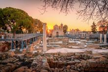 St Pauls Column And Agia Kyriaki Chrysopolitissa In Paphos On A Sunrise, Cyprus